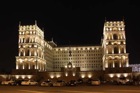 baku: Azerbaijan Baku Old Government House at the night Stock Photo
