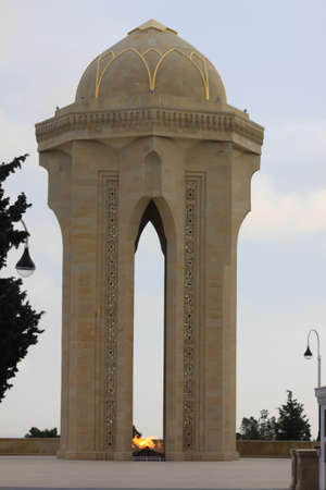 baku: Azerbaijan Baku Eternal flame in park Editorial