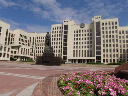 lenin: Parlament building and Lenin statue on the Independence square in Minsk. Belarus. Editorial