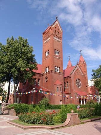 minsk: Belarus Minsk Red church Editorial
