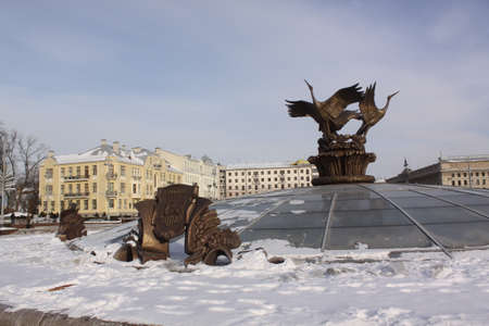 fontaine: Independence Square in the center of Minsk. Fontaine details during winter