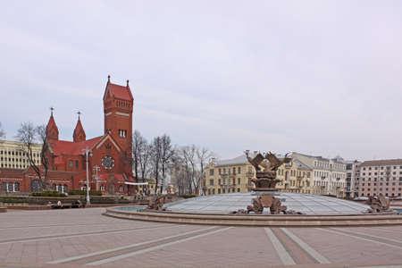 belarus: Belarus Minsk Red church Stock Photo