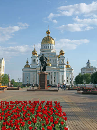 View at the cathedral of St Warrior Admiral Feodor Ushakov in Saransk, Mordovia. Russian Federation