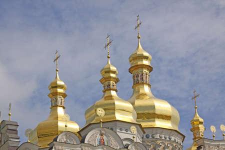 lavra: Ukraine. Kiev. Kievo-pechorskaja Lavra. The reconstructed Cathedral of the Dormition Stock Photo