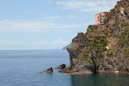 Italy Cinque Terre. Manarola. View from seaside
