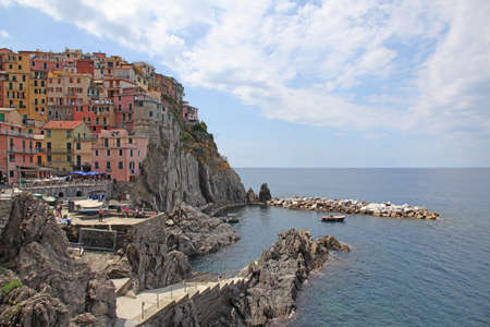 Italy Cinque Terre. Manarola. View from seaside