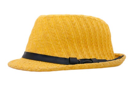 circumference: summer yellow wicker hat with black braid around the circumference