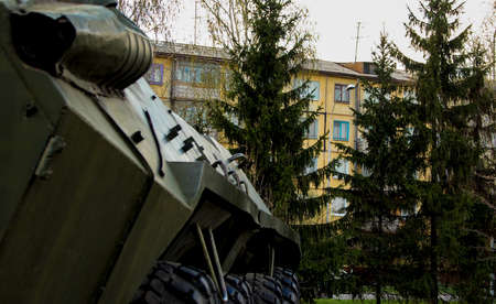 infantry: Russian infantry fighting vehicle in the city amid residential buildings