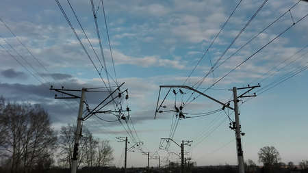 electrical equipment: Top view of railway lines and electrical equipment