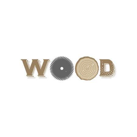 rings on a tree cut: Wood logo