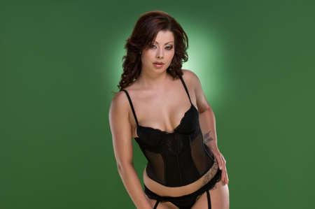 reggicalze: Sexy modello posa in lingerie Archivio Fotografico