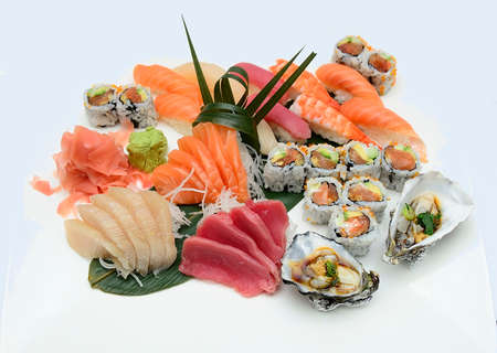 Set of Japanese sushi on white background photo