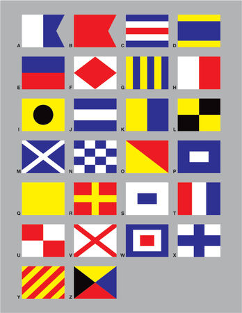 Die 26 Standard-Maritime Signalflaggen erstellt in CMYK-oder auf einzelnen Schichten.  Standard-Bild - 571150