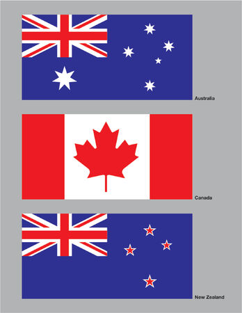 The flags of Australia, Canada and New Zealand drawn in CMYK and placed on individual layers. Ilustração