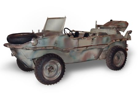 A VW Schwimmwagen (amphibious car) from WWII. (This JPEG file includes a clipping path to isolate the vehicle and remove the shadow.) Imagens