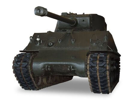 An American M4 Sherman main battle tank from WWII. (This JPEG file includes a clipping path to isolate the tank and remove the shadow.) Imagens