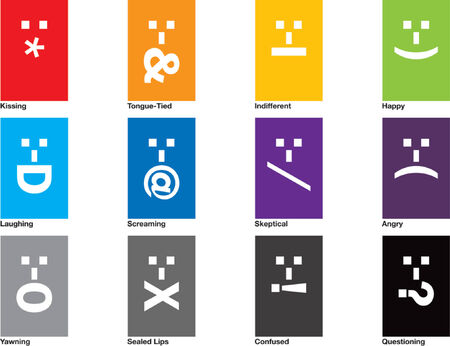 A collection of 12 emoticons drawn in CMYK and placed on individual layers.