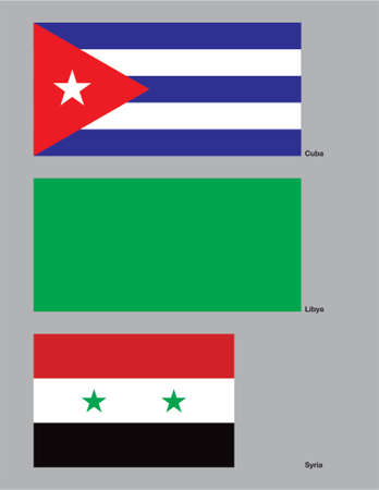 The flags of Cuba, Libya and Syria drawn in CMYK and placed on individual layers.