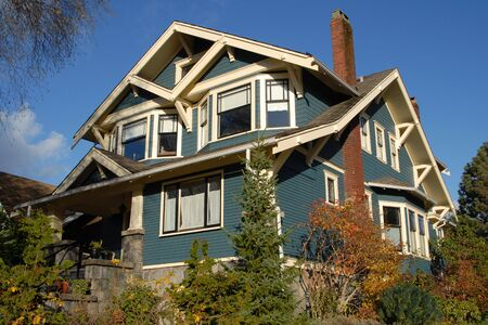 A Craftsman Style house in autumn. photo