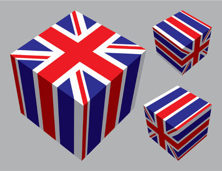 The British flag extruded and mapped onto three cubes.