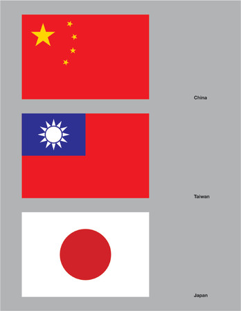 The flags of China, Taiwan, and Japan. Drawn in CMYK and placed on individual layers