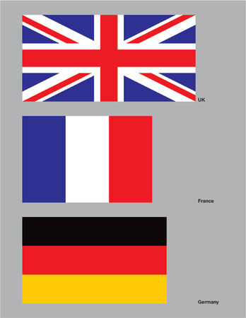The flags of the United Kingdom, France, and Germany. Drawn in CMYK and placed on individual layers. Vectores