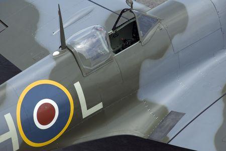 The cockpit of Spitfire fighter plane.