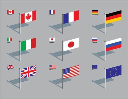 De vlaggen van de leden van de G8: Canada, Frankrijk, Duitsland, Italië, Japan, Rusland, het VK, de VS, plus de vlag van de EU. Getrokken in CMYK en geplaatst op afzonderlijke lagen.