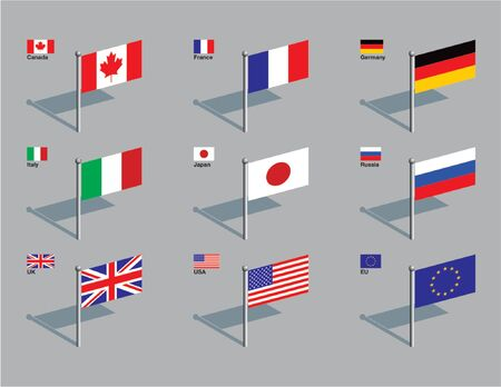 The flags of the members of the G8: Canada, France, Germany, Italy, Japan, Russia, UK, USA, plus the flag of the EU. Drawn in CMYK and placed on individual layers. Çizim