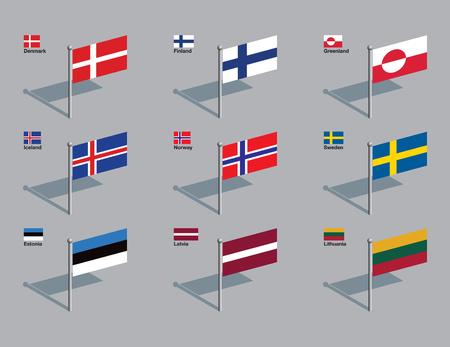 デンマーク、フィンランド、アイスランド、グリーンランド、ノルウェー、スウェーデン、エストニア、ラトビア、リトアニアのフラグです。描か