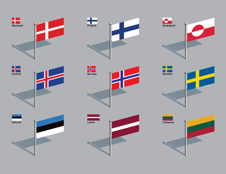 The flags of Denmark, Finland, Greenland, Iceland, Norway, Sweden, Estonia, Latvia, and Lithuania. Drawn in CMYK and placed on individual layers.