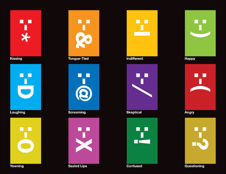 Twelve emoticons drawn in CMYK and placed on individual layers. Vettoriali