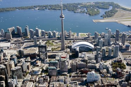 Downtown Toronto, Canada, seen from just above the junction of Richmond and John Streets.