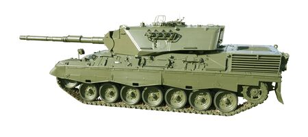 A German-built Leopard main battle tank set on a white background for easy isolation. (The JPEG file also includes a clipping path to isolate the tank.) Imagens