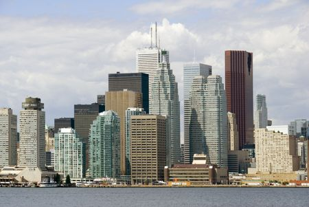 The towers of Toronto's financial district seen from Lake Ontario.