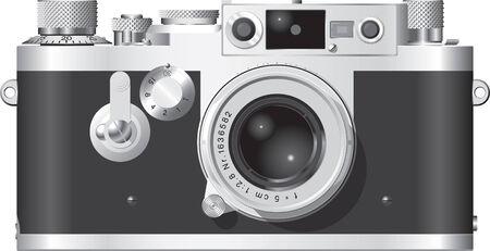 Frente elevación de un clásico alemán telémetro cámara con un lente de 50mm.  Foto de archivo - 3065214