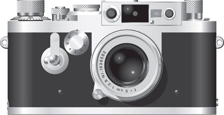 Front elevation of a classic German rangefinder camera with a 50mm lens. Ilustracja