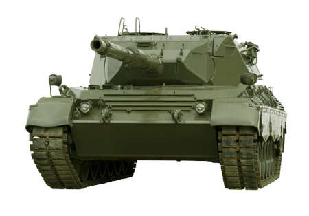 A German-built Leopard main battle tank set on a white background for easy isolation.