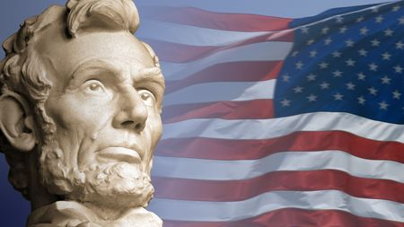 Abraham Lincoln, the sixteenth President of the United States, with the current flag of the USA. Imagens
