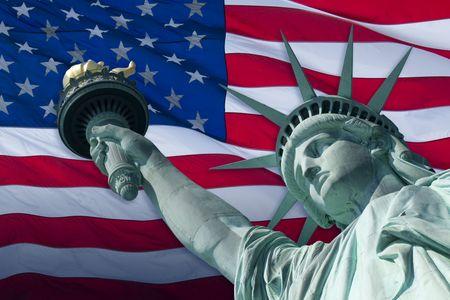 De Statue of Liberty Enlightening de Wereld was een geschenk van de vriendschap van Frankrijk tot het van de Verenigde Staten en is een universeel symbool van vrijheid en democratie.