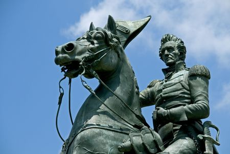 A statue by Clark Mills, in Layfayette Park, Washington, DC, of President Andrew Jackson riding his horse. Jackson was the seventh president of the United States from 1829 to 1837. Stock Photo