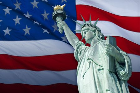 The Statue of Liberty Enlightening the World was a gift of friendship from the people of France to the people of the United States and is a universal symbol of freedom and democracy. Stock Photo