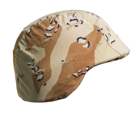 A US PASGT  helmet with a Desert Battle Dress Uniform (chocolate-chip) camouflage cover from Operation Desert Storm, 1990&ETH,91, commonly referred to as the Gulf War.