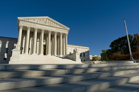 The front of the US Supreme Court in Washington, DC. Standard-Bild