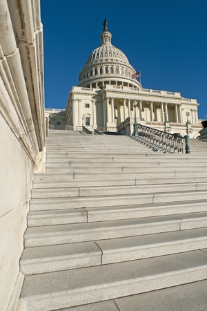 The western facade and dome of the US Capitol in Washington, DC. Stock Photo
