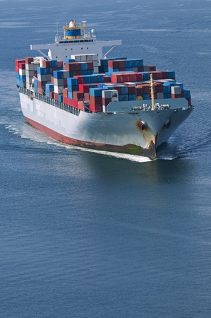 An aerial view of a container ship. Stock Photo - 10633385