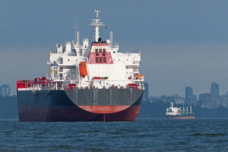 Two empty cargo ships anchored just outside a port.