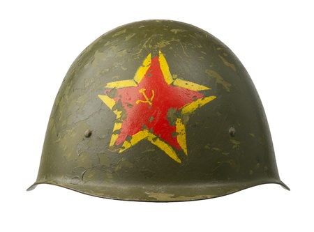 A Soviet military SSh-40 helmet emblazoned with the red star.