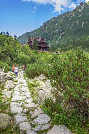 Tatra mountains in Poland. Mountain shelter at the Morskie Oko lake. Фото со стока