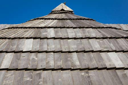 Poland Podkarpackie Bieszczady, Bircza viewpoint. Roof covered with shingle.